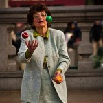 old woman juggling