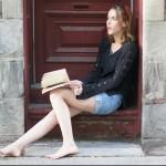 woman reading on stoop